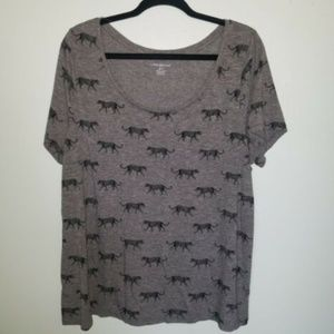 Lane Bryant 18/20 Gray Animal Print Tee
